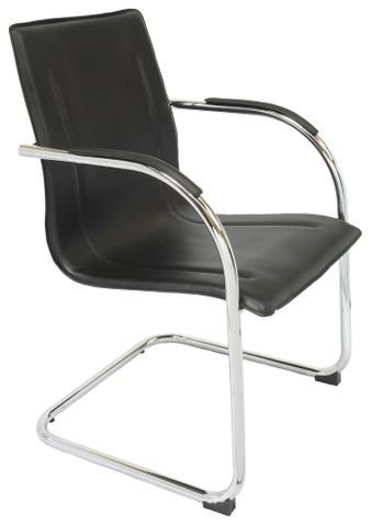 CANTILEVER VISITOR CHAIR CHROME CANTILVER UNDERFRAME - 110 KG WEIGHT RATING 1 PIECE PU LEATHER BACK REST & SEAT PAN FIXED CHROME ARMS WITH PU LEATHER ARM PADS