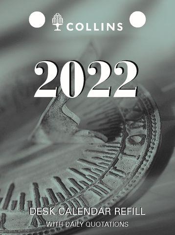 COLLINS DEBDEN DESK CALENDAR REFILL TOP OPENING 2022 DCRT