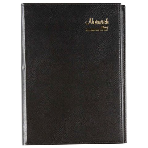 CUMBERLAND NORWICH A5 2 DAYS TO PAGE 2022 DIARY BLACK SPIRAL BOUND