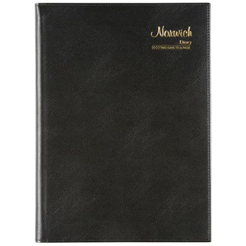 CUMBERLAND NORWICH A4 2 DAYS TO PAGE 2022 DIARY BLACK SPIRAL BOUND