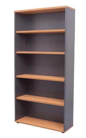 RAPID WORKER OPEN BOOKCASE - 900MM W X 315MM D X 1800MM H - CHERRY/IRONSTONE