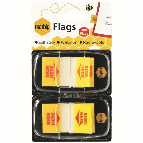 MARBIG FLAGS POP UP 25X44MM SIGN HERE 2PK X50-cqs15 - 9312311172040