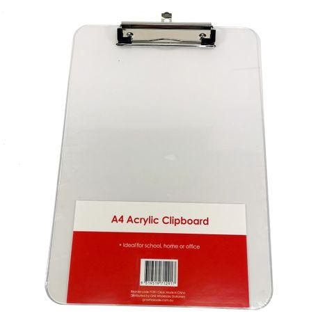 CLIPBOARD A4 CLEAR ACRYLIC
