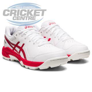 ASICS GEL PEAKE CRICKET RUBBER SHOE WHITE/ELECTRIC RED