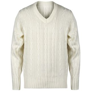 GRAY-NICOLLS SWEATER LONG SLEEVE CABLE OFF WHITE