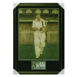 BRADMAN PRINT WITH SIGray-Nicolls GNED COIN ENVELOPE
