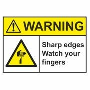 Sharp Edges Watch your Fingers - Pack of 5 Labels