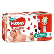 HUGGIES ESSENTIAL NAPPIES SIZE 1 NEWBORN / 112
