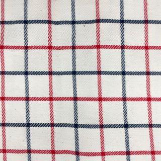 Collar Check Navy Red Cotton