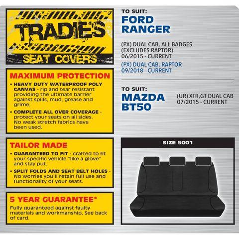Tradies Grey Rear Seat Cover - Ranger / BT50