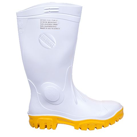 Stimela Gumboots White & Yellow with Safety Toe Cap