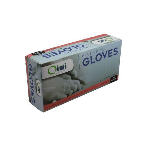 Q Blue Vinyl Gloves PF Large 10pk/ctn