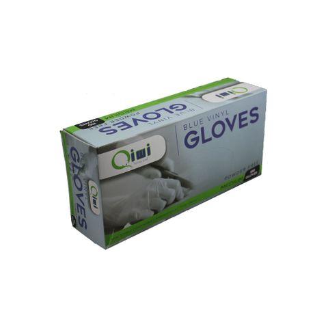 Q Blue Vinyl Gloves PF Medium 10pk/ctn