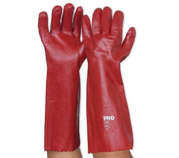 GLOVES PARAMOUNT PVC RED 45CM PAIR
