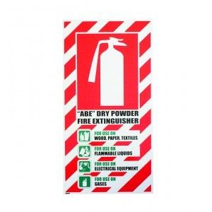 SIGN PSL FIRE EXTINGUISHER BLAZON ABE DRY POWDER PVC
