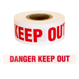 TAPE POLYMARK DANGER KEEP OUT WHITE 100MM X 300M