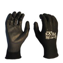 GLOVES SAFE-T-TEC EXTRA FLEX LITE BLACK PU COATED PALM PAIR