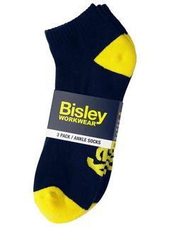 BISLEY HALF TERRY ANKLE NAVY WORK SOCKS