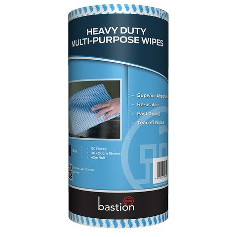 CLEANING BASTION WIPES ROLL BLUE 45M X 300MM EACH
