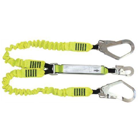 HEIGHT SAFETY QSI ELASTICATED DBL LEG 2M LYARD/SCAFF HOOKS