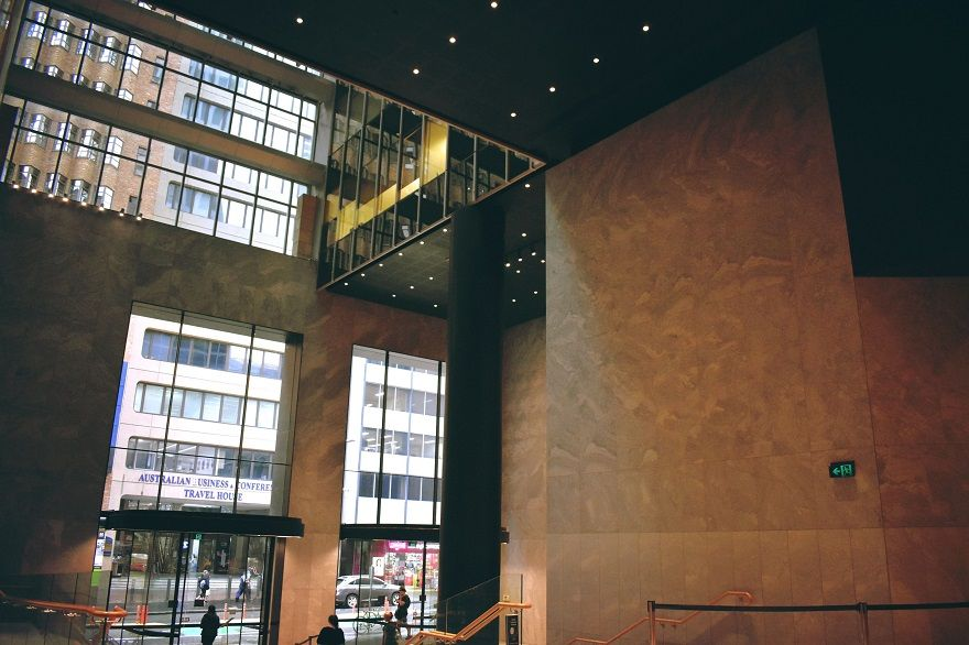 ALLTRIM architectural angles for high walls at Angel Place Sydney
