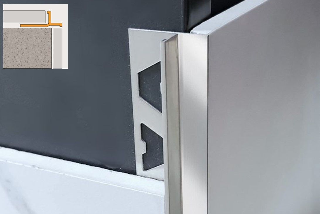 ALLTRIM Birdsmouth profile tile trim in stainless steel by Amark Group