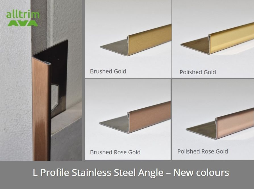 L profile stainless steel angle in gold finish by Amark Group