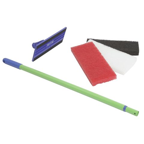 Scouring Pad Set with Telescopic Handle