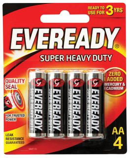 Eveready S' Heavy Duty Batteries AA 4/pk