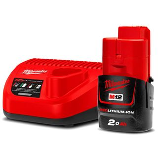 MILWAUKEE M12  2V 2.0AH REDLITHIUM BATTERY AND CHARGER SET
