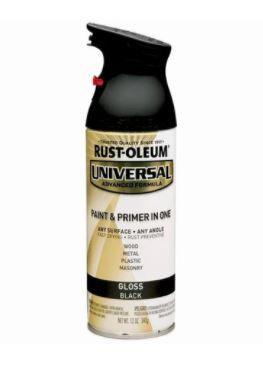 RUSTOLEUM UNIVERSAL PAINT & PRIMER IN ONE - BLACK GLOSS 340G