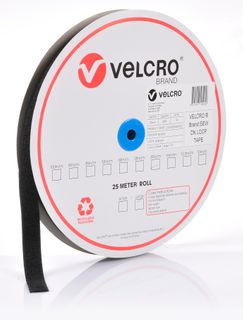 VELCRO BRAND 25MM SEW ON LOOP TAPE – BLACK 25MTR