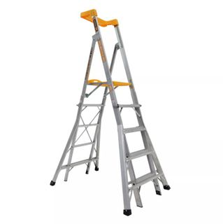 GORILLA ALUMINIUM 5-6-7-8 STEP COMPACT ADJUSTABLE PLATFORM LADDER - 1.45 - 2.35M