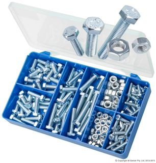 TORRES ZINC PLATED MILD STEEL NUTS & HEX BOLTS ASSORTED KIT