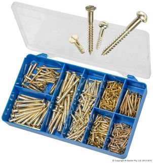 TORRES BRASS PLATED WOOD SCREWS ASSORTED KIT