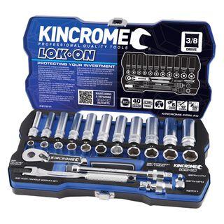 "KINCROME LOK-ON™ SOCKET SET 28 PIECE 3/8"" DRIVE - METRIC"
