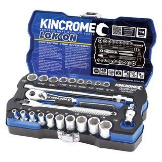 "KINCROME LOK-ON™ SOCKET SET 24 PIECE 1/4"" DRIVE - METRIC & IMPERIAL"