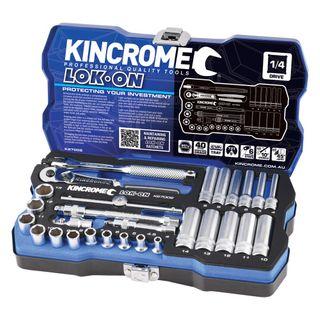 "KINCROME LOK-ON™ SOCKET SET 28 PIECE 1/4"" DRIVE - METRIC"