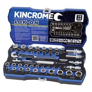"KINCROME LOK-ON™ SOCKET SET 44 PIECE 1/4"" & 3/8"" DRIVE - METRIC & IMPERIAL"