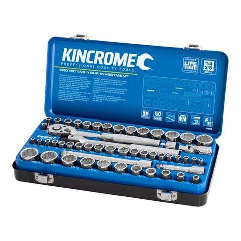"KINCROME 1/4"" & 3/8"" DRIVE 52 PIECE SOCKET SET - METRIC / IMPERIAL"