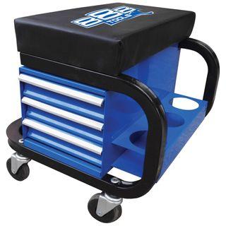 888 WORKSHOP ROLLER SEAT WITH STORAGE - BLUE