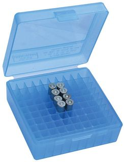 MTM 100RND HANDGUN AMMO BOX 38SPL 357MAG CLEAR BLUE