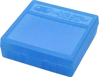 MTM 100RND HANDGUN AMMO BOX 9MM 380ACP CLEAR BLUE
