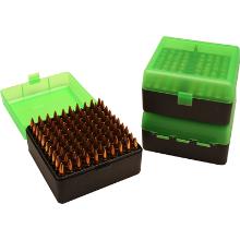 MTM 100RND AMMO BOX 22-250-308 CLEAR GREEN