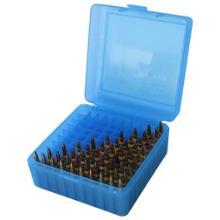 MTM 100RND AMMO BOX 22-250-308 CLEAR BLUE