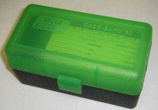MTM 50RND AMMO BOX 22-250-308 CLEAR GREEN