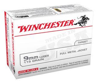 WINCHESTER 9MM LUGER 115GR FULL METAL JACKET 100PKT
