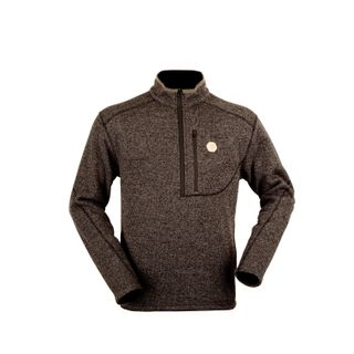 HUNTERS ELEMENT CLARENCE KNIT LS ZIP TOP WALNUT BROWN