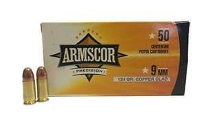 ARMSCOR 9MM 124G COPPER CLAD AMMO 50PK
