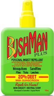 BUSHMAN PLUS DRYGEL 20% DEET 100ML PUMP